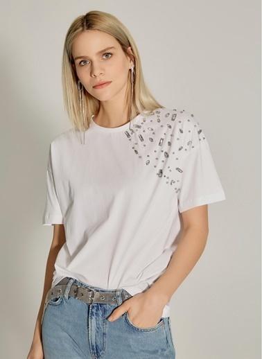 NGSTYLE Taş İşlemeli Tişört Beyaz